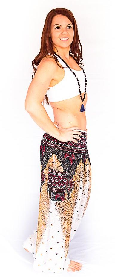 Straight Leg Harem Pants in White Feather-The High Thai-The High Thai-Yoga Pants-Harem Pants-Hippie Clothing-San Diego