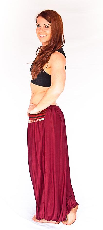 Women's Aladdin Pants in Wine Red-The High Thai-The High Thai-Yoga Pants-Harem Pants-Hippie Clothing-San Diego