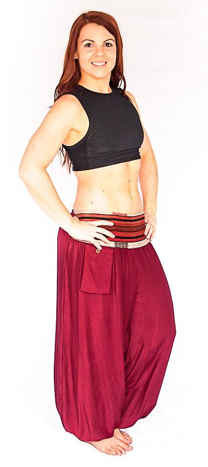 Aladdin Pants in Wine Red-The High Thai-The High Thai-Yoga Pants-Harem Pants-Hippie Clothing-San Diego