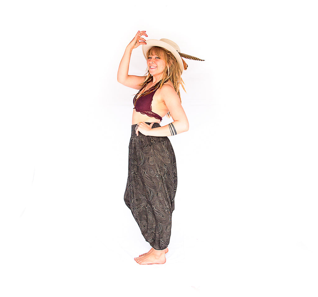 Women's Low Cut Harem Pants in Black Swirl-The High Thai-The High Thai-Yoga Pants-Harem Pants-Hippie Clothing-San Diego