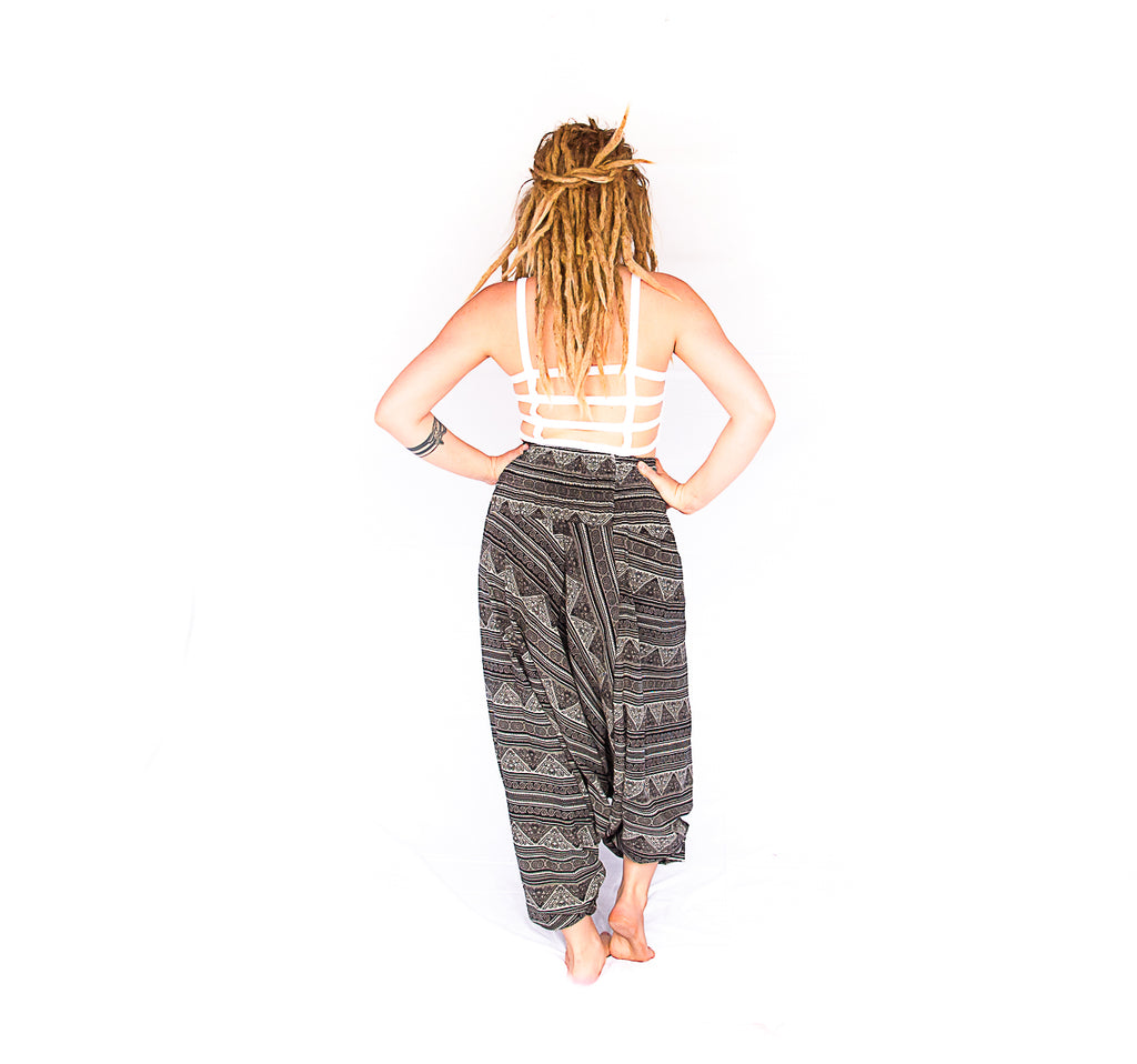 Women's Low Cut Harem Pants in Tribal Grey-The High Thai-The High Thai-Yoga Pants-Harem Pants-Hippie Clothing-San Diego