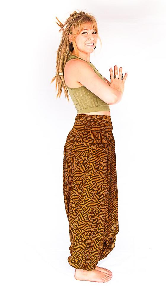 Women's Low Cut Harem Pants in Tribal Brown-The High Thai-The High Thai-Yoga Pants-Harem Pants-Hippie Clothing-San Diego
