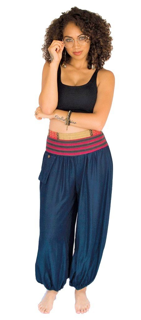 Aladdin Pants in Navy Blue-The High Thai-The High Thai-Yoga Pants-Harem Pants-Hippie Clothing-San Diego