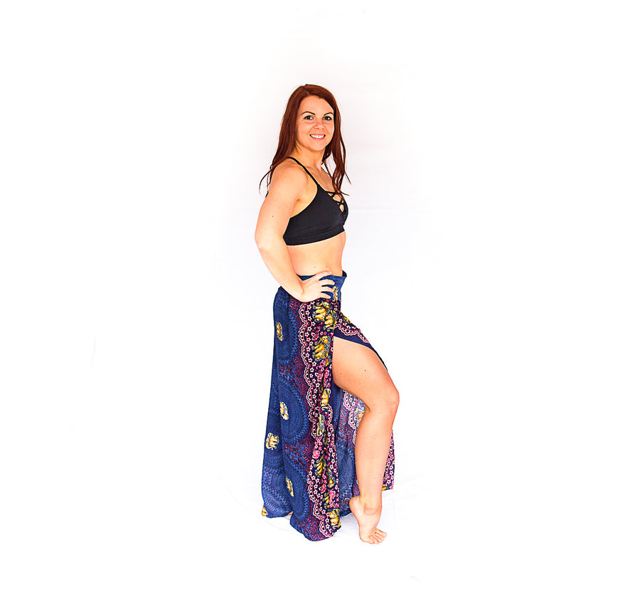 Open Leg Elephant Pants in Blue-The High Thai-The High Thai-Yoga Pants-Harem Pants-Hippie Clothing-San Diego