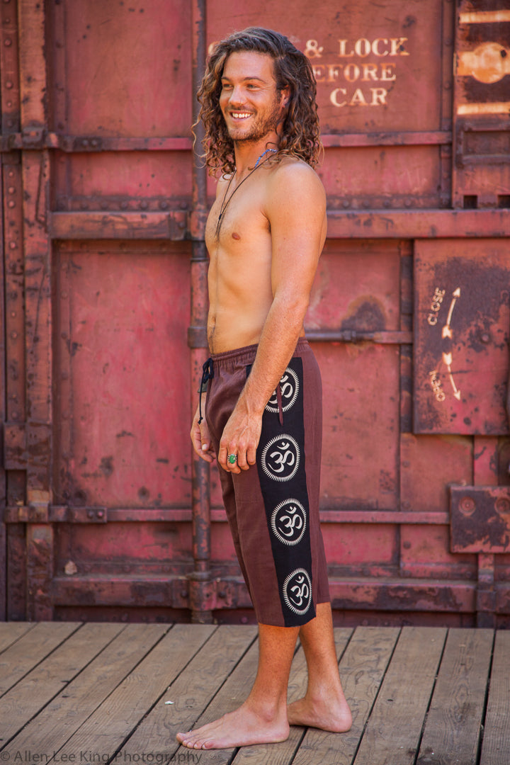 Om Lounge Shorts in Brown-The High Thai-The High Thai-Yoga Pants-Harem Pants-Hippie Clothing-San Diego