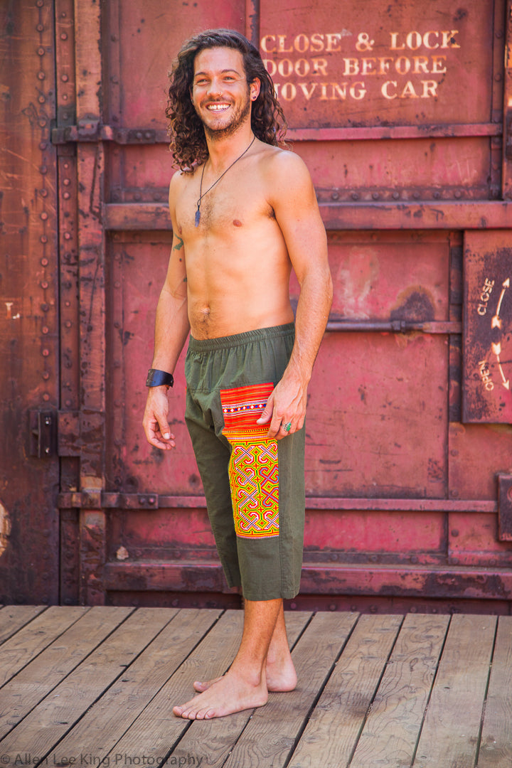 Upcycled Tribal Fabric Shorts in Olive Green-The High Thai-The High Thai-Yoga Pants-Harem Pants-Hippie Clothing-San Diego