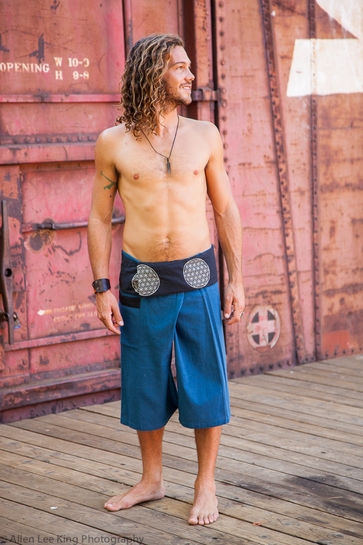 Flower of Life Fisherman Shorts in Blue-The High Thai-The High Thai-Yoga Pants-Harem Pants-Hippie Clothing-San Diego