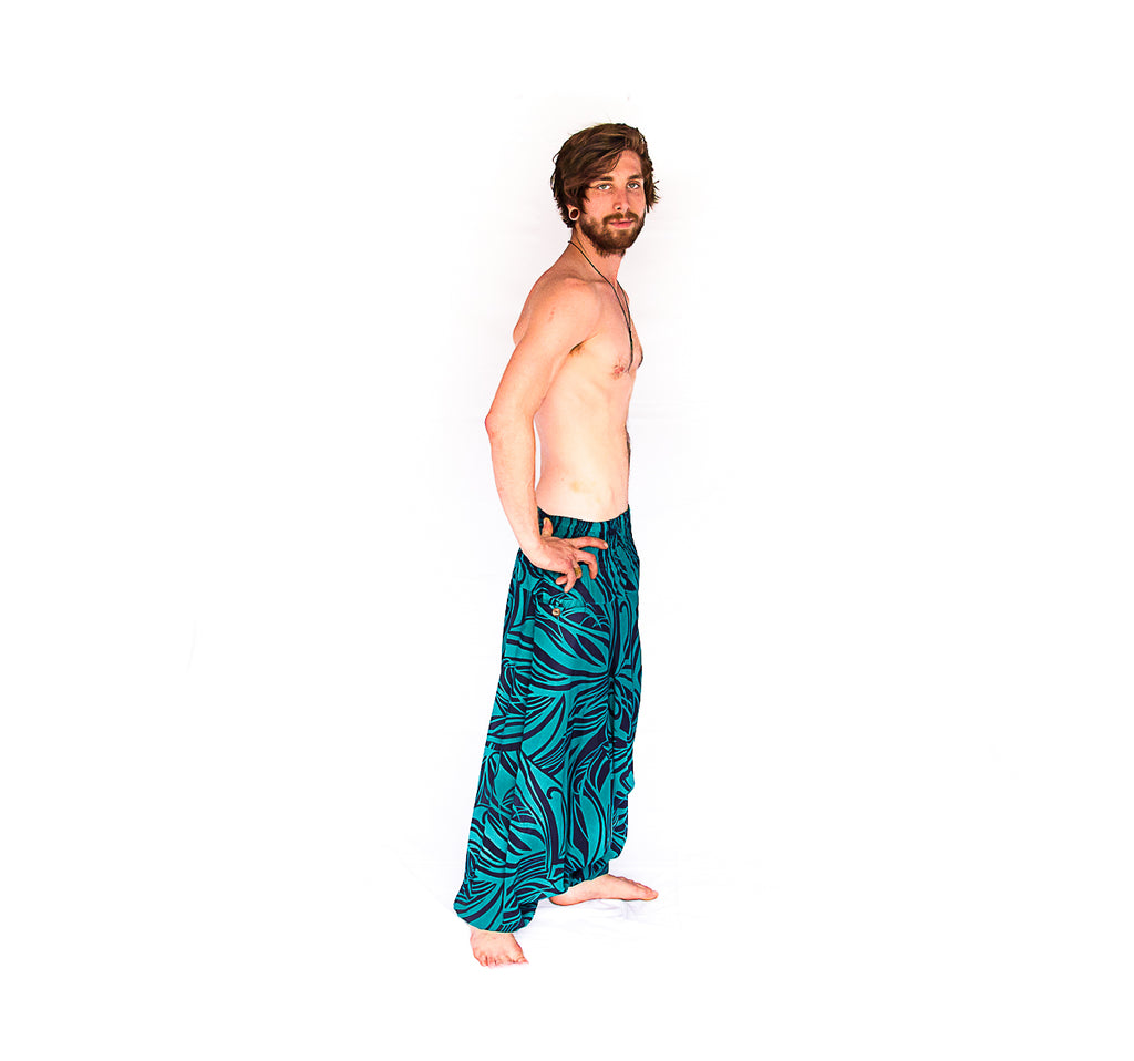 Men's Low Cut Harem Pants in Ocean Swirl-The High Thai-The High Thai-Yoga Pants-Harem Pants-Hippie Clothing-San Diego