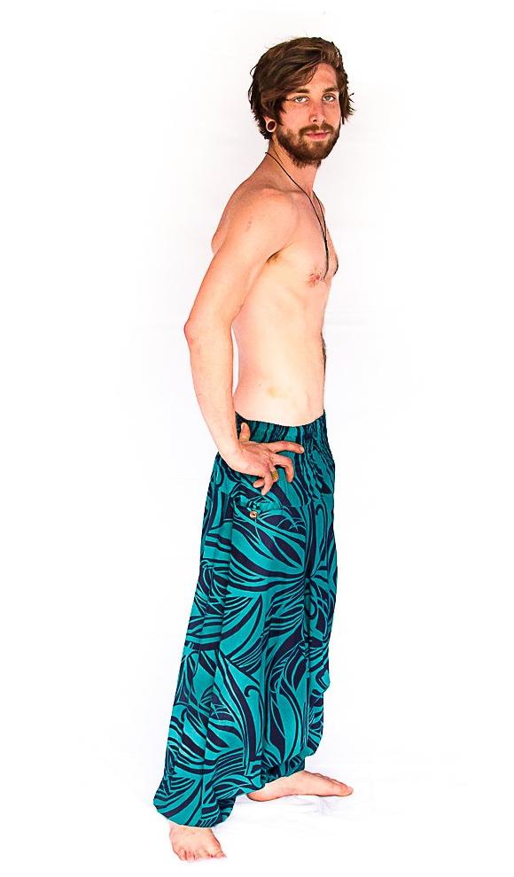 Men's Low Cut Harem Pants in Ocean Swirl