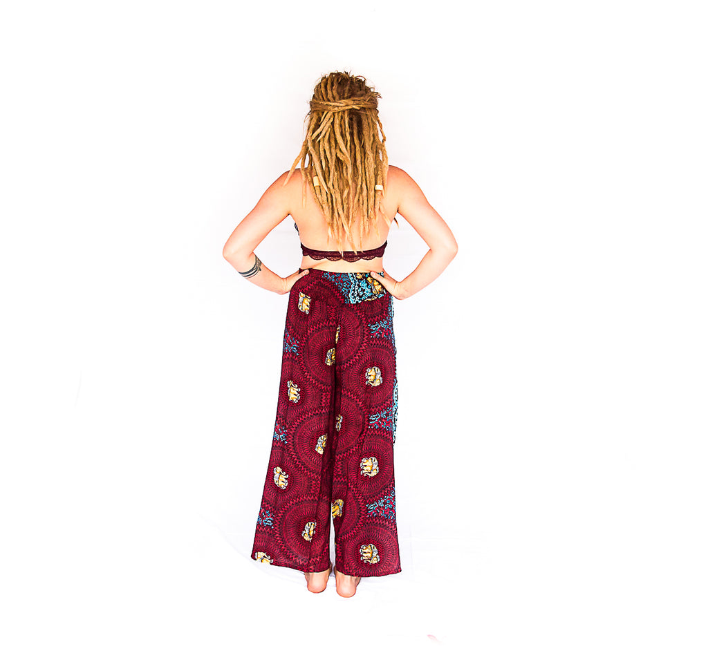 Elephant Design Open Leg Pants in Red-The High Thai-The High Thai-Yoga Pants-Harem Pants-Hippie Clothing-San Diego