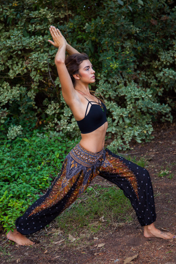 Black and Gold Feather Design Straight Leg Harem Pants-The High Thai-The High Thai-Yoga Pants-Harem Pants-Hippie Clothing-San Diego