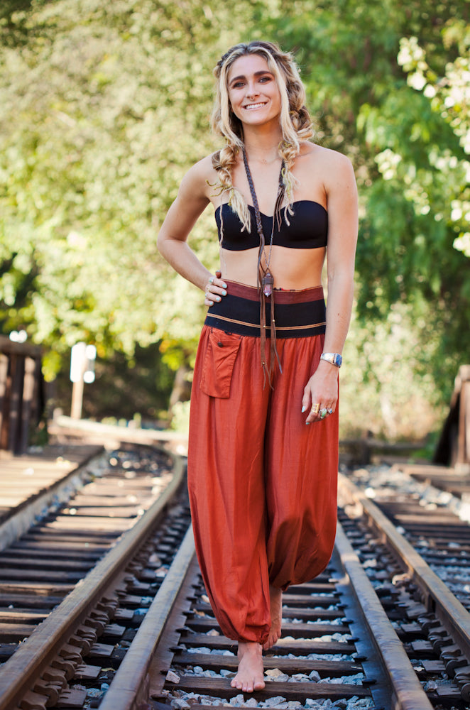 Women's Aladdin Pants in Burnt Orange-The High Thai-The High Thai-Yoga Pants-Harem Pants-Hippie Clothing-San Diego
