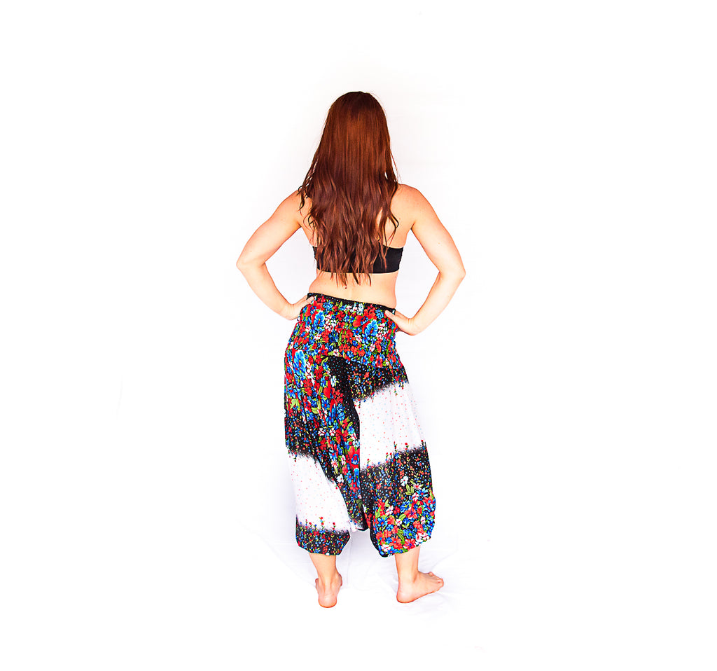 One Piece Jumper Pants in White Flower-The High Thai-The High Thai-Yoga Pants-Harem Pants-Hippie Clothing-San Diego