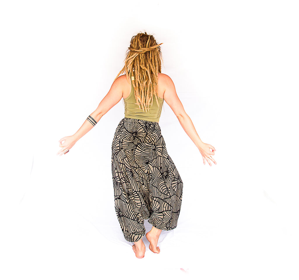 Women's Low Cut Harem Pants in Shattered Glass-The High Thai-The High Thai-Yoga Pants-Harem Pants-Hippie Clothing-San Diego