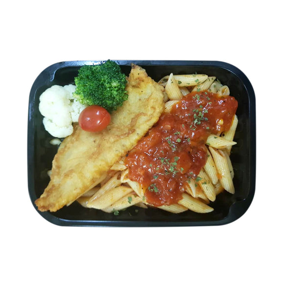 English Fish & Chips Neapolitan Penne + Seasonal Vegetables