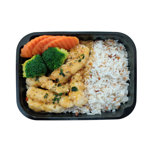 Fish Fillet Sweet Chili Orange Sauce with Garlic Oil Rice + Seasonal Vegetables