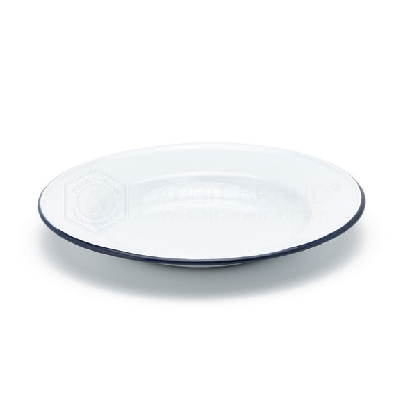 Classic Enamel Plate 18 cm White with Blue Lining