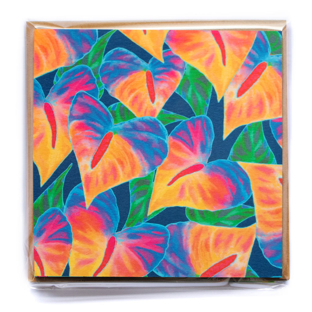 ANTHURIUM BEAUTY NAVY NOTECARD PACK