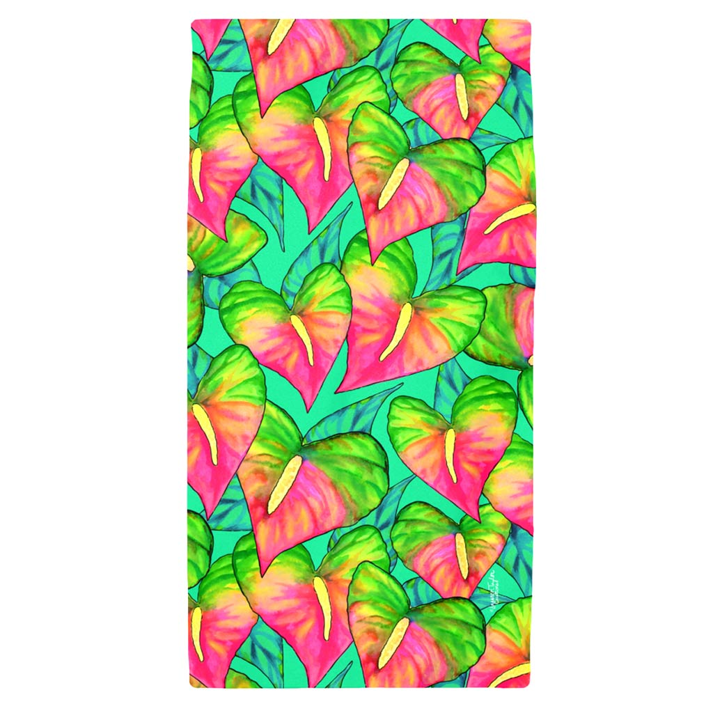 ANTHURIUM BEAUTY TEAL BEACH TOWEL