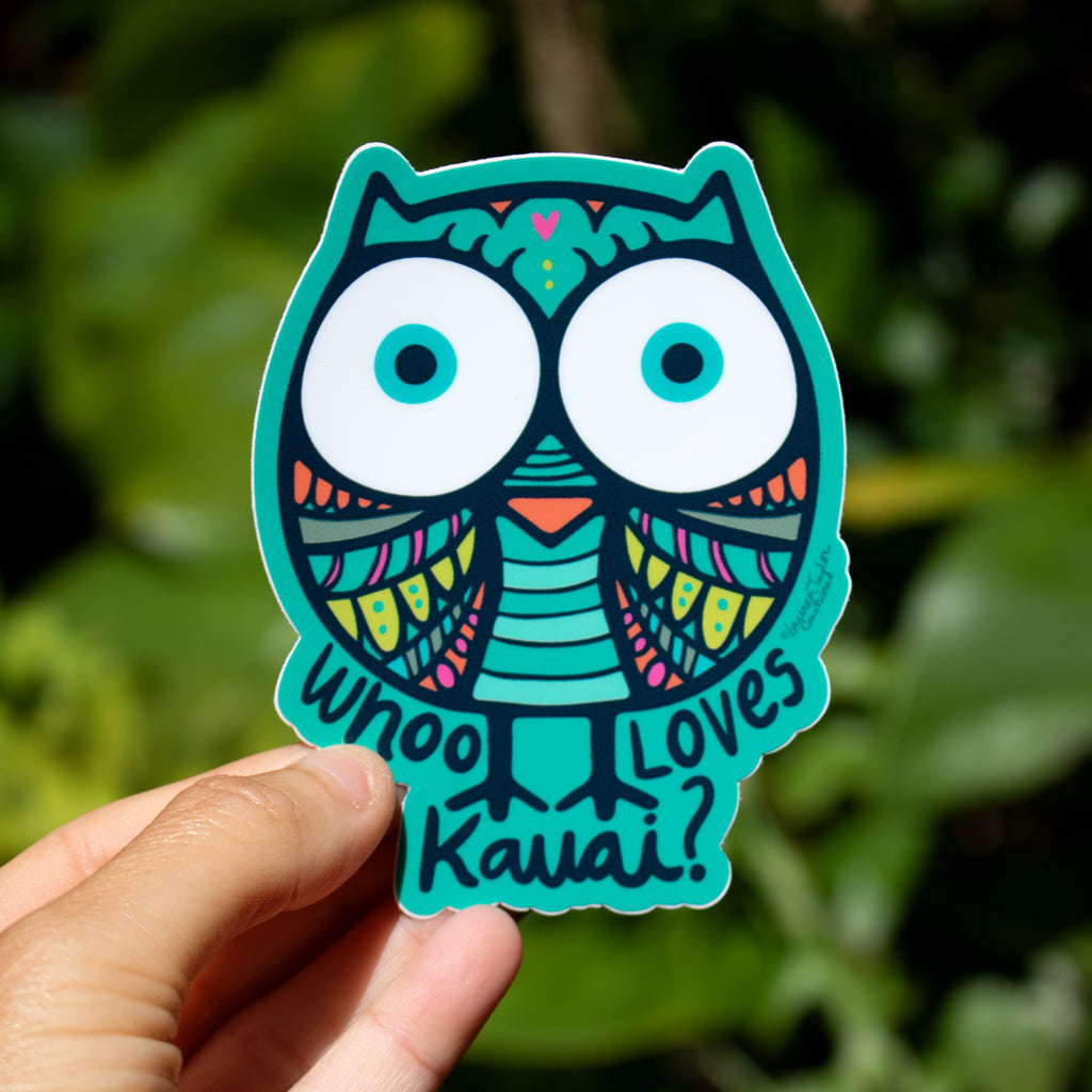 OWL KAUAI LOVE TEAL STICKER - MEDIUM