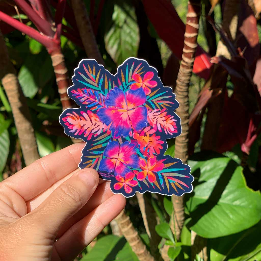 RAINBOW HIBISCUS BLUE STICKER - SMALL