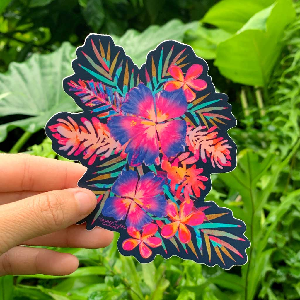 RAINBOW HIBISCUS NAVY STICKER - MEDIUM