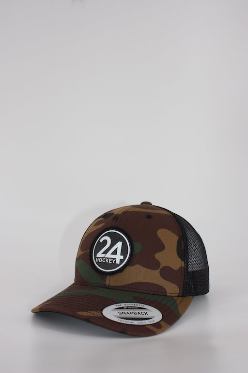 24 Hockey Curved Camo Trucker Hat
