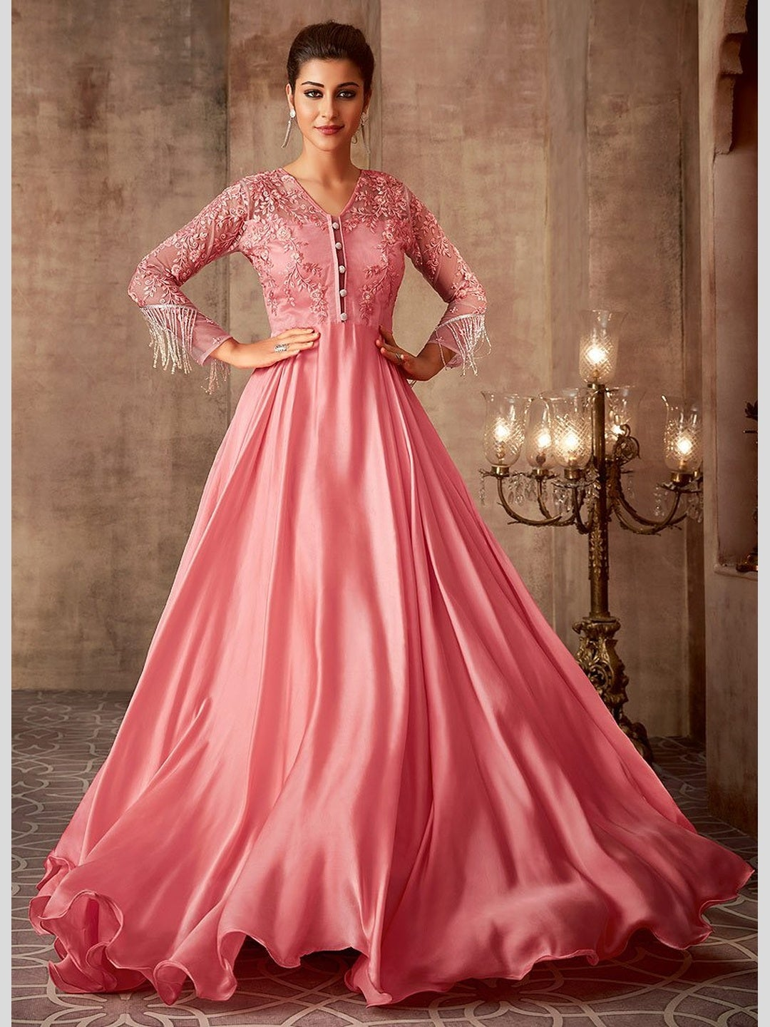 Pink Net & Silk - Anarkali