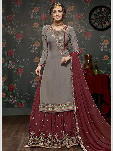 Indian Dresses Online - Gray Embroidered Georgette