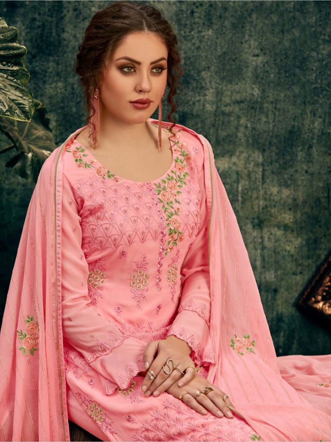 Pink Chiffon & Georgette Embroidery
