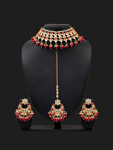 Indian Jewelry - Kundan & Pearl Necklace with Tikka