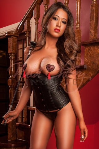 Buckled Red and Black Corset