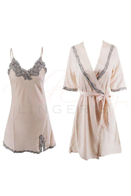 Peach and Silver Babydoll and Matching Robe Set, Sleepwear & Robes, Unbranded - Wild Cherry Lingerie