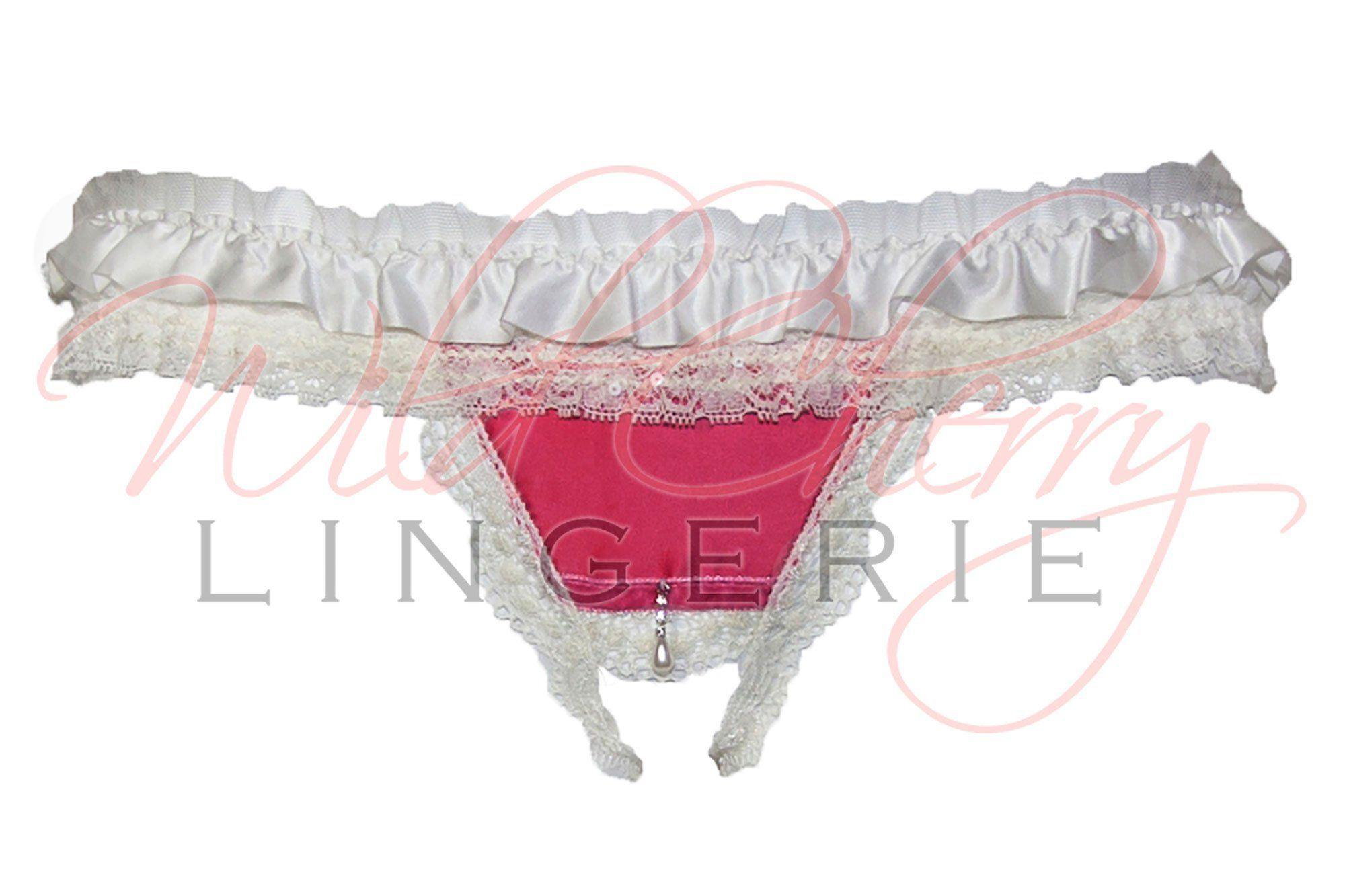 Andrea White Collection Open Crotch G-String Panties VIPA Lingerie, Panties, VIPA Lingerie - Wild Cherry Lingerie