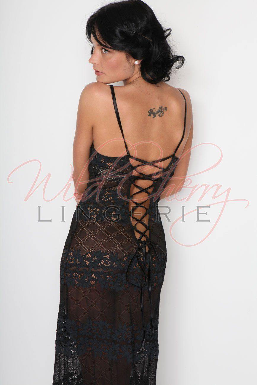 Daniella Black Long Chemise Sleepwear