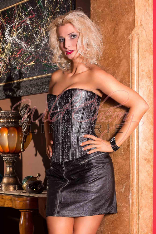 Cross Pattern Over-Bust Corset, Corsets & Bustiers, Wild Cherry Lingerie - Wild Cherry Lingerie