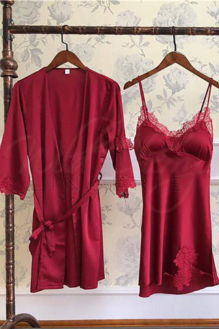 Red Babydoll and Robe Set