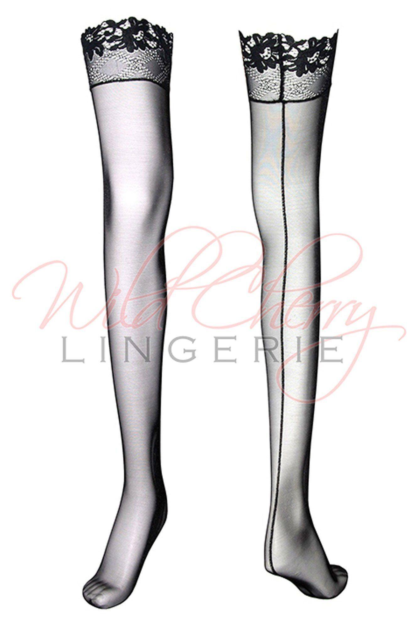 Daniella Black Collection Thigh Length Stockings VIPA Lingerie, Legwear, VIPA Lingerie - Wild Cherry Lingerie