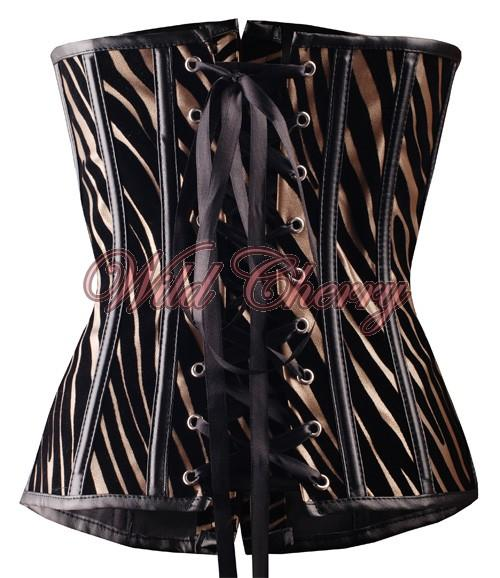 Black and Gold Zebra Striped Underbust Corset