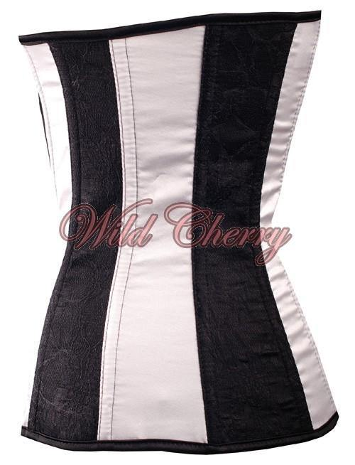 Black and White Underbust Corset, Corsets & Bustiers, Wild Cherry Lingerie - Wild Cherry Lingerie