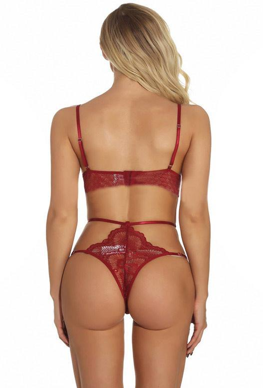 A Little Taste Matching Set Wine Lingerie
