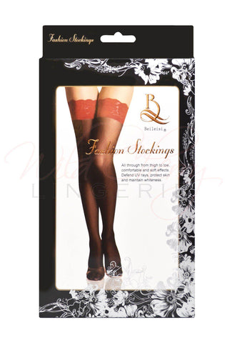 Thigh High Stockings with Lace Top