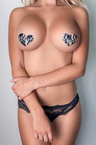 Heart-Shaped Leather Nipple Covers with Bows