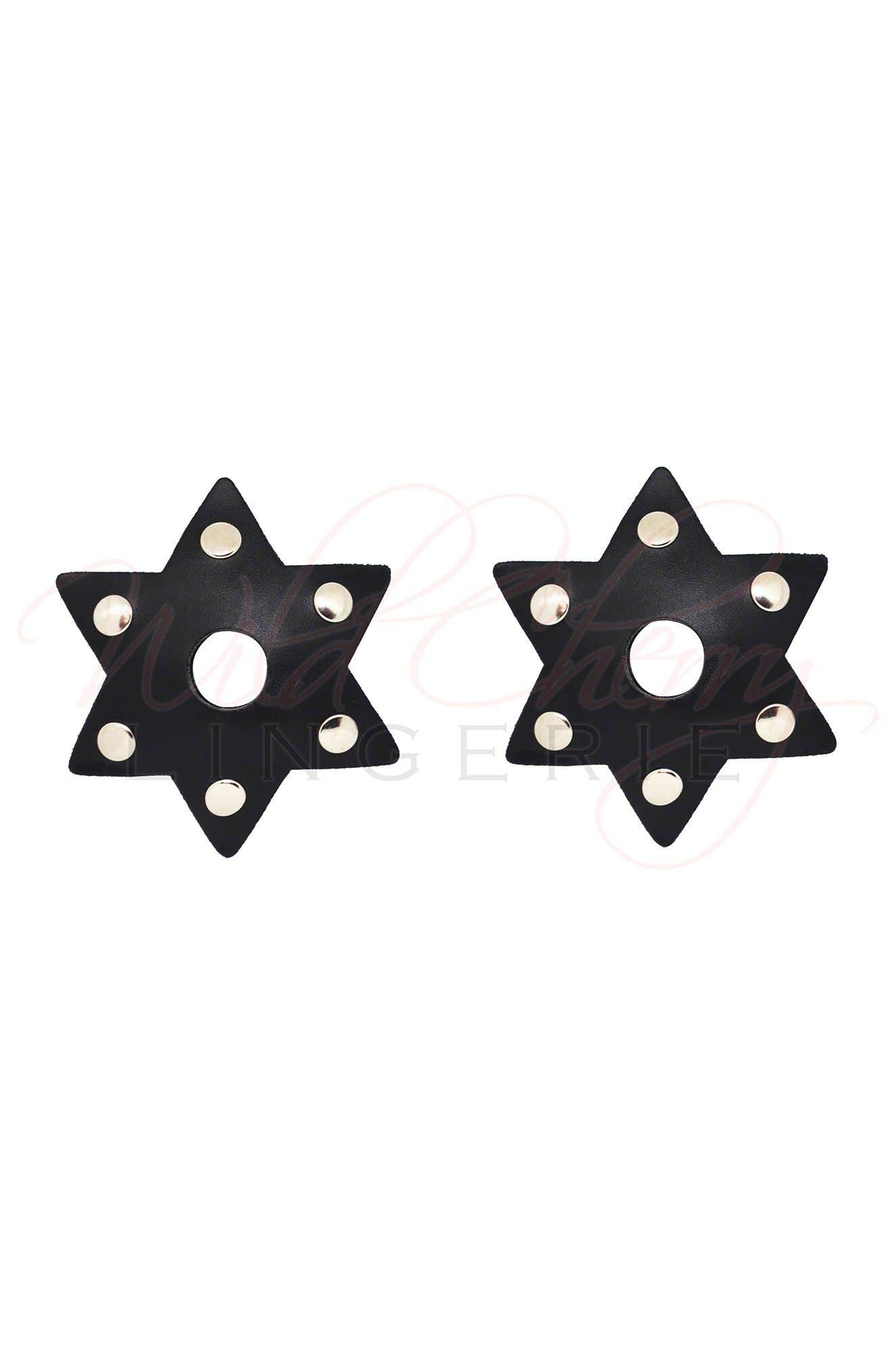 Star-Shaped Leather and Metal Nipple Covers