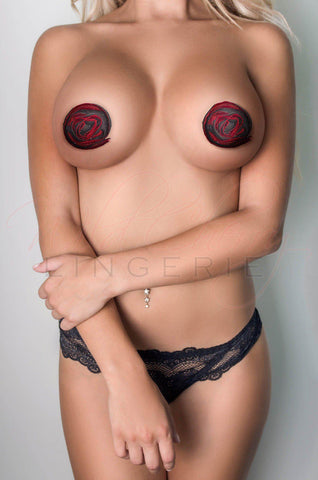 Red and Black Bow Nipple Covers