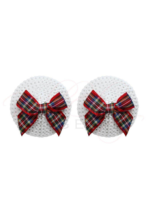 Tartan Bow and Sequin Nipple Covers