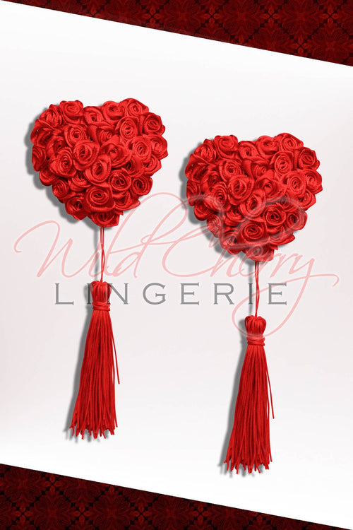 Rosebud Heart 3D Pasties with Tassels, Accessories, Wild Cherry Lingerie - Wild Cherry Lingerie