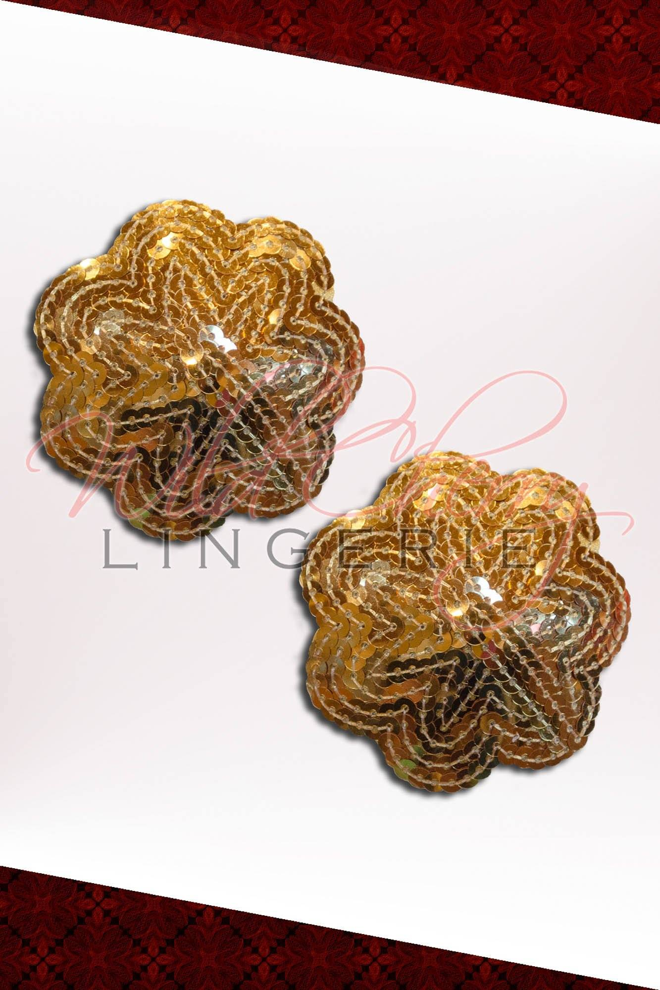 Gold Sequin Flower Pasties