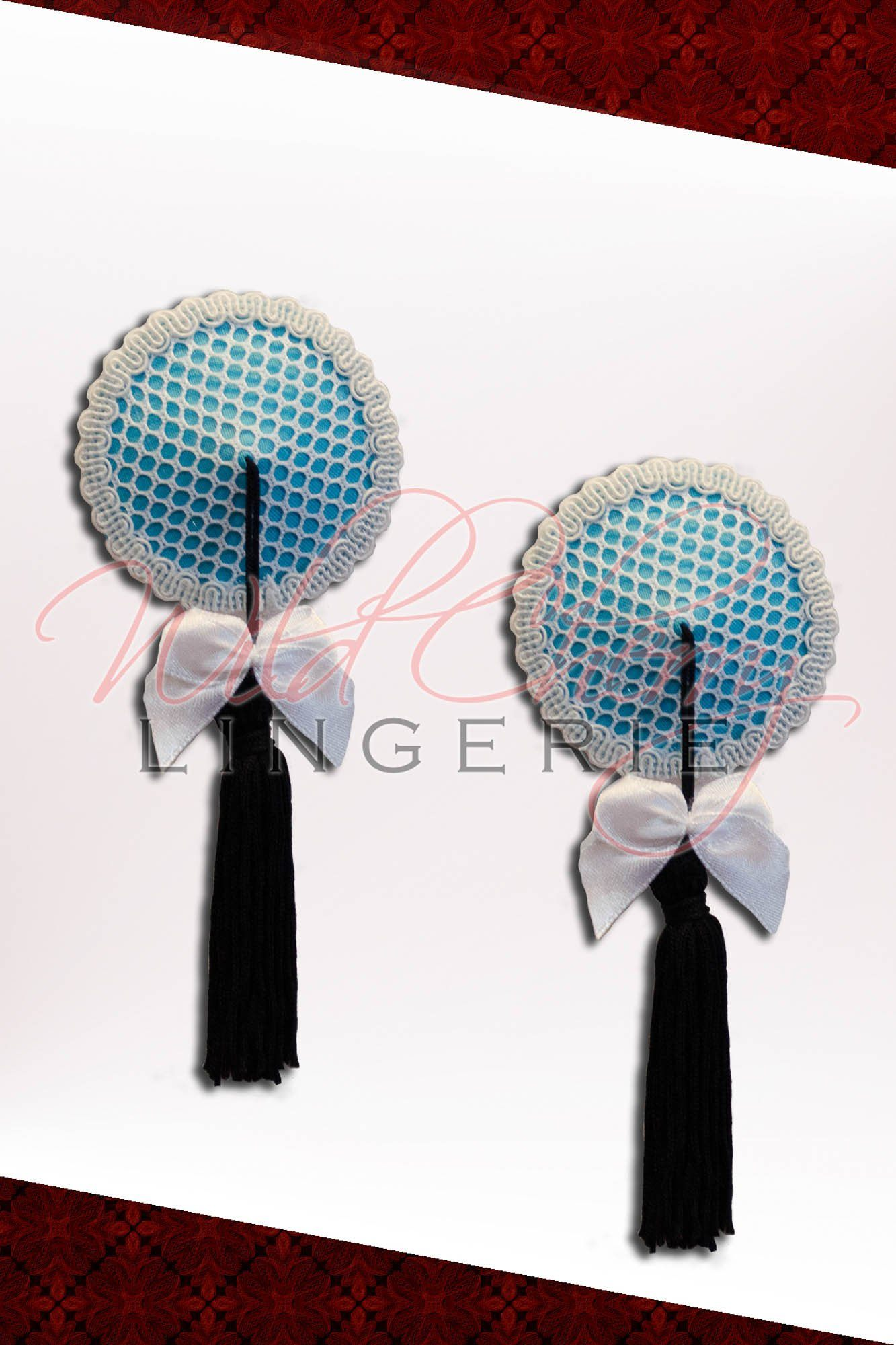 Sugar and Spice Blue Nipple Covers with Tassel