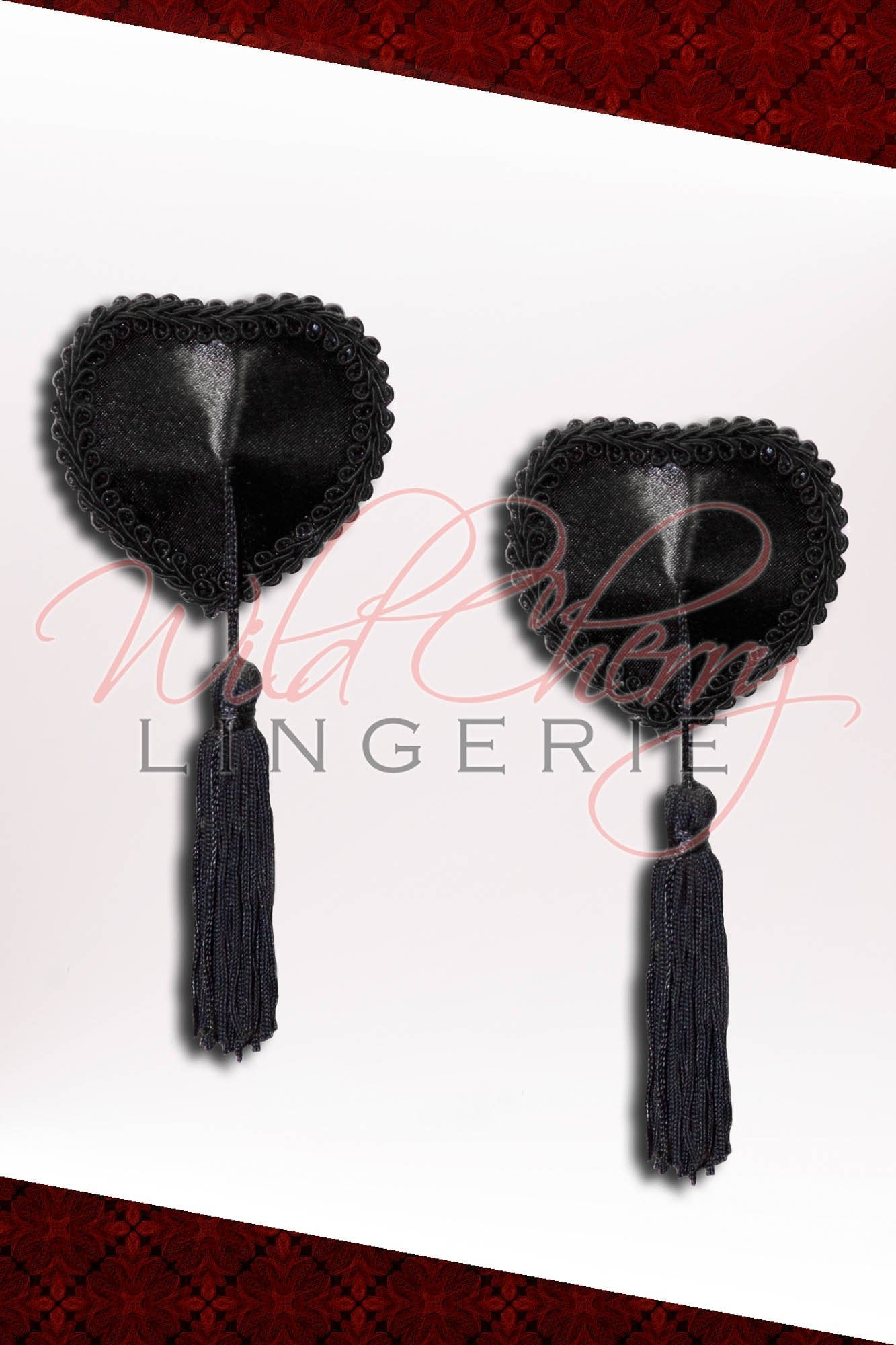 Piece of My Heart Black Pasties With Tassels